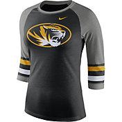 Nike Women's Missouri Tigers Black/Grey Stripe Sleeve Three-Quarter Raglan Shirt