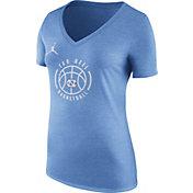 Nike Women's North Carolina Tar Heels Carolina Blue Basketball Logo Tri-Blend T-Shirt