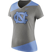 Nike Women's North Carolina Tar Heels Grey/Carolina Blue Champ Drive Football Dri-Blend V-Neck T-Shirt