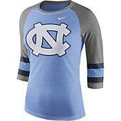 Nike Women's North Carolina Tar Heels Carolina Blue/Grey Stripe Sleeve Three-Quarter Raglan Shirt