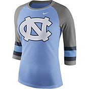 Nike Women's North Carolina Tar Heels Carolina Blue/Grey Stripe Sleeve Three-Quarter Raglan Shirt