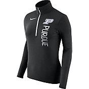 Nike Women's Purdue Boilermakers Heathered Black Element Half-Zip Shirt