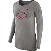 Nike Women's Arkansas Razorbacks Grey Cozy Long Sleeve Shirt