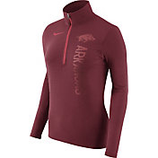 Nike Women's Arkansas Razorbacks Heathered Cardinal Element Half-Zip Shirt