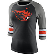 Nike Women's Oregon State Beavers Black/Grey Stripe Sleeve Three-Quarter Raglan Shirt