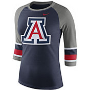Nike Women's Arizona Wildcats Navy/Grey Stripe Sleeve Three-Quarter Raglan Shirt