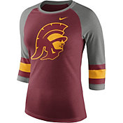 Nike Women's USC Trojans Cardinal/Grey Stripe Sleeve Three-Quarter Raglan Shirt