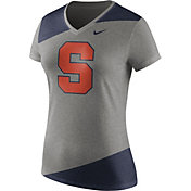 Nike Women's Syracuse Orange Grey/Blue Champ Drive Football Dri-Blend V-Neck T-Shirt
