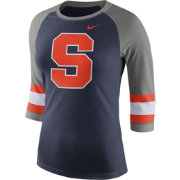 Nike Women's Syracuse Orange Blue/Grey Stripe Sleeve Three-Quarter Raglan Shirt
