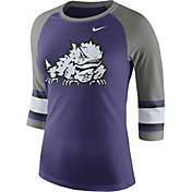 Nike Women's TCU Horned Frogs Purple/Grey Stripe Sleeve Three-Quarter Raglan Shirt