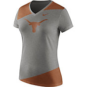 Nike Women's Texas Longhorns Grey/Burnt Orange Champ Drive Football Dri-Blend V-Neck T-Shirt