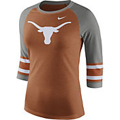 Nike Women's Texas Longhorns Burnt Orange/Grey Stripe Sleeve Three-Quarter Raglan Shirt