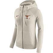 Nike Women's Texas Longhorns Heathered Oatmeal Gym Vintage Full-Zip Hoodie