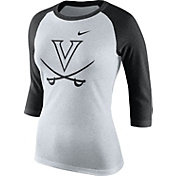 Nike Women's Virginia Cavaliers Oatmeal/Black Raglan ¾ Sleeve Shirt