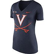 Nike Women's Virginia Cavaliers Blue Stripe Bar V-Neck T-Shirt