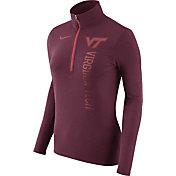 Nike Women's Virginia Tech Hokies Heathered Maroon Element Half-Zip Shirt