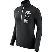 Nike Women's Iowa Hawkeyes Heathered Black Element Half-Zip Shirt