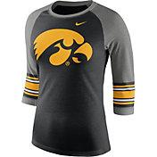 Nike Women's Iowa Hawkeyes Black/Grey Stripe Sleeve Three-Quarter Raglan Shirt