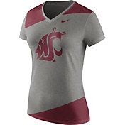 Nike Women's Washington State Cougars Grey/Crimson Champ Drive Football Dri-Blend V-Neck T-Shirt