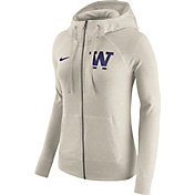 Nike Women's Washington Huskies Heathered Oatmeal Gym Vintage Full-Zip Hoodie