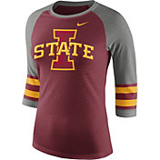 Nike Women's Iowa State Cyclones Cardinal/Grey Stripe Sleeve Three-Quarter Raglan Shirt