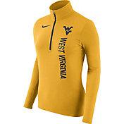Nike Women's West Virginia Mountaineers Heathered Gold Element Half-Zip Shirt