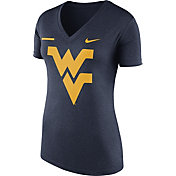 Nike Women's West Virginia Mountaineers Blue Stripe Bar V-Neck T-Shirt