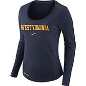 Nike Women's West Virginia Mountaineers Heathered Blue Slub Dri-FIT Long Sleeve Shirt