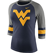 Nike Women's West Virginia Mountaineers Blue/Grey Stripe Sleeve Three-Quarter Raglan Shirt
