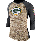 Nike Women's Green Bay Packers Salute to Service 2017 Camouflage Raglan