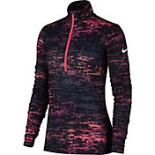 Nike Women's Pro Warm Ink Stripe Half Zip Long Sleeve Shirt