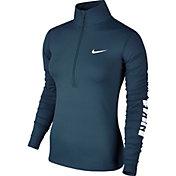 Nike Women's Pro Warm Bumper Sticker Half Zip Long Sleeve Graphic Shirt