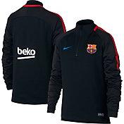 Nike Youth Dry FC Barcelona Squad Black Quarter Zip Shirt