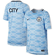 Nike Youth Manchester City Blue and White Prematch Training Top