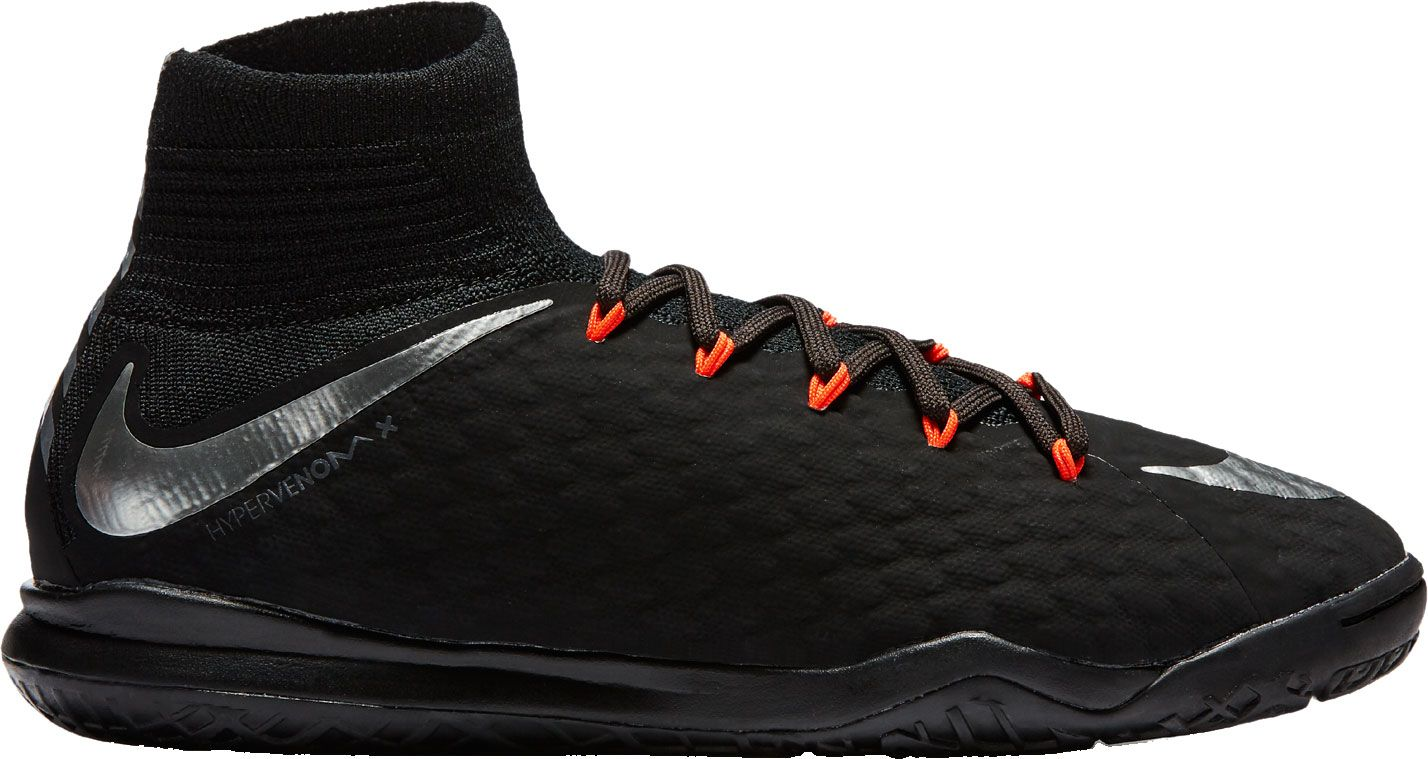 Product Image � Nike Kids\u0027 HypervenomX Proximo II Dynamic Fit Indoor Soccer  Shoes � Black/Silver