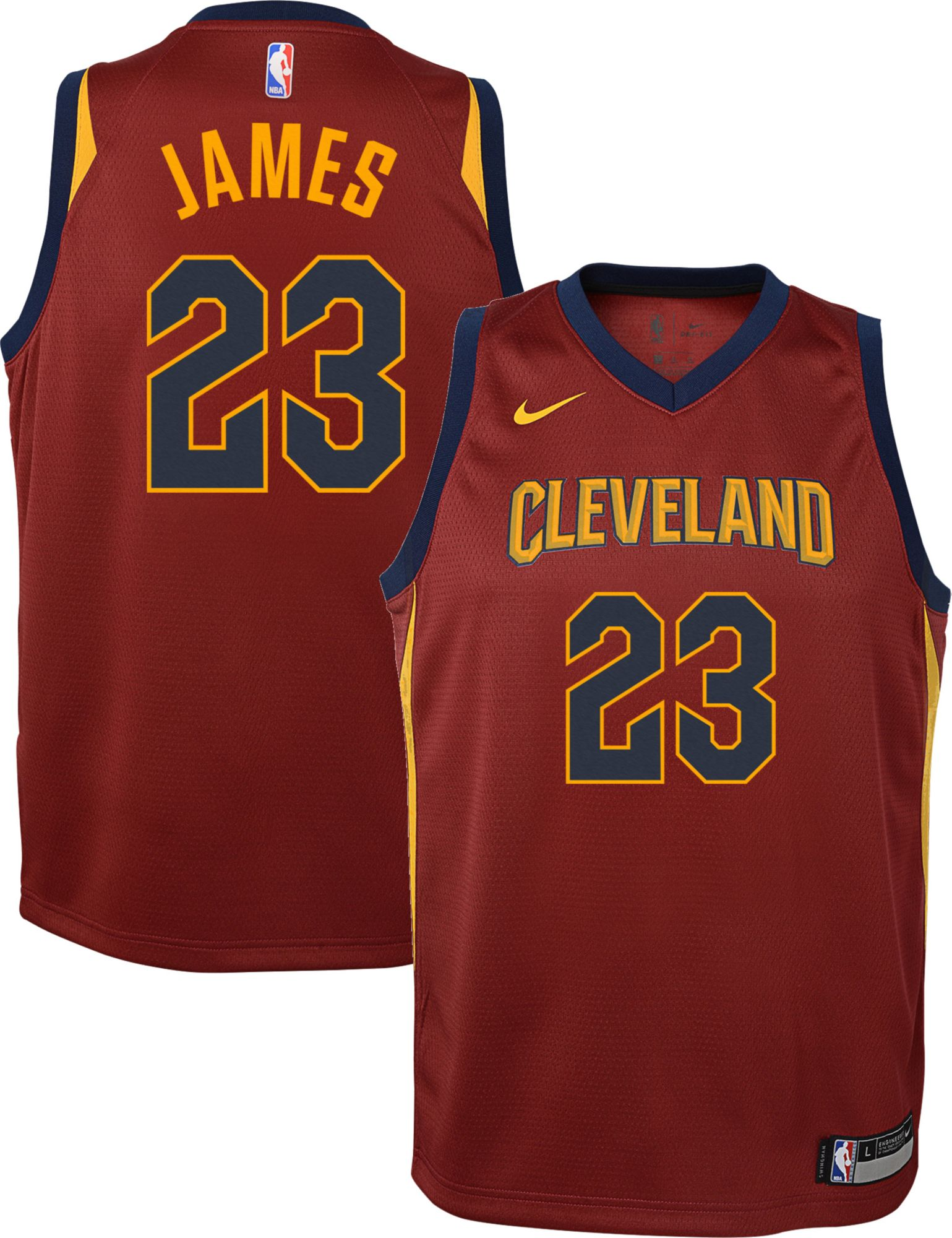32dad1c54147 Nike Youth Cleveland Cavaliers LeBron James  23 Burgundy Dri-FIT ...