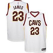 Nike Youth Cleveland Cavaliers LeBron James #23 White Dri-FIT Swingman Jersey