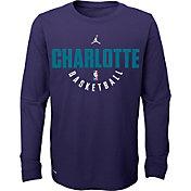 Jordan Youth Charlotte Hornets Dri-FIT Purple Practice Long Sleeve Shirt