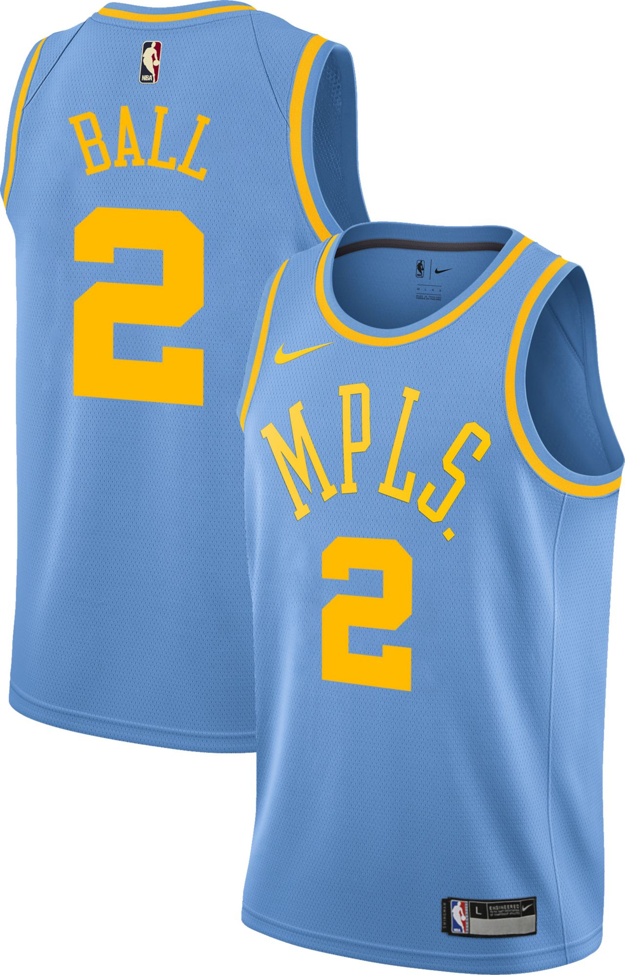 Product Image �� Nike Youth Los Angeles Lakers Lonzo Ball #2 Light Blue  Dri-FIT Swingman Jersey