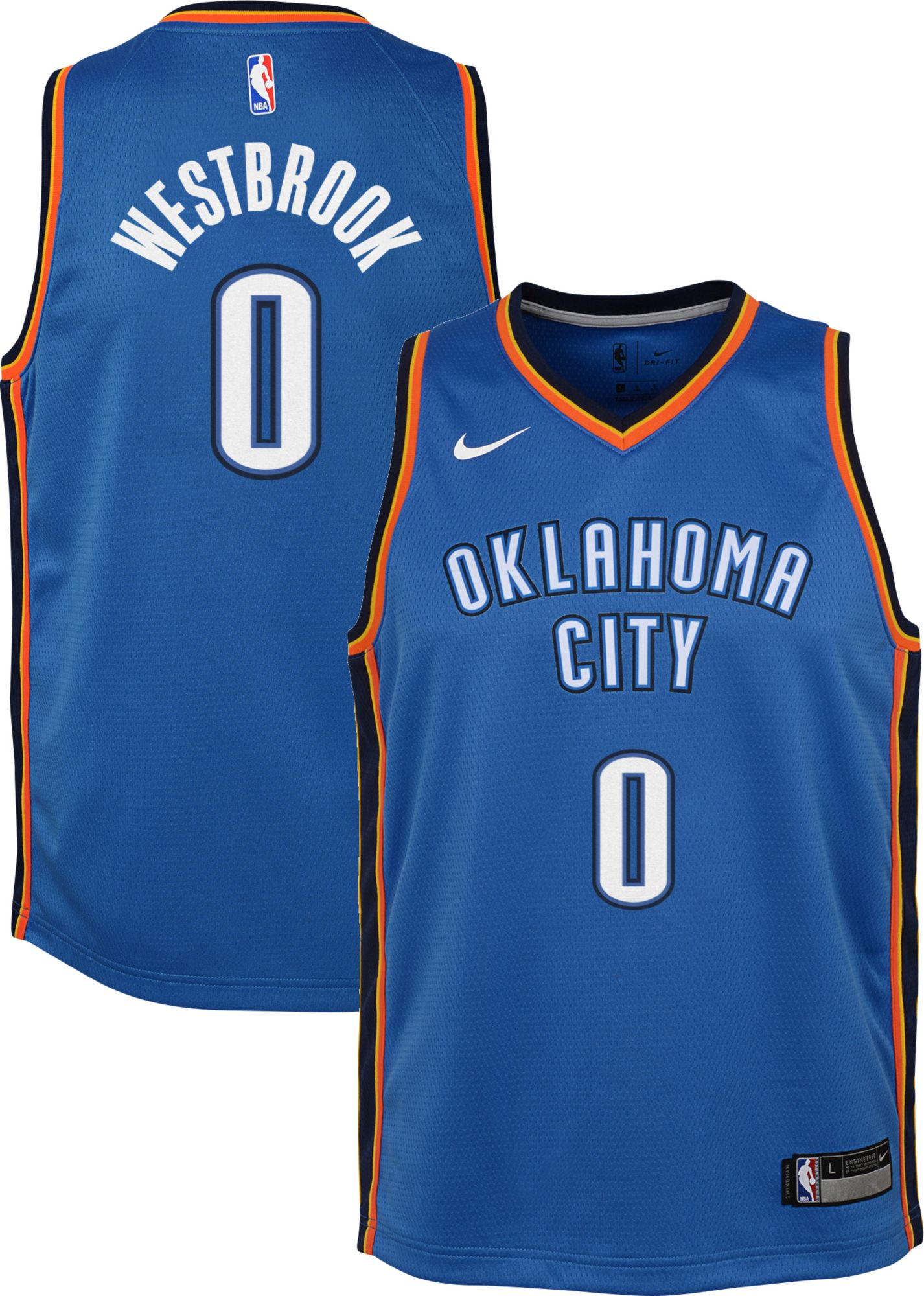 Product Image � Nike Youth Oklahoma City Thunder Russell Westbrook #0 Blue  Dri-FIT Swingman Jersey
