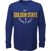 Nike Youth Golden State Warriors Dri-FIT Royal Practice Long Sleeve Shirt