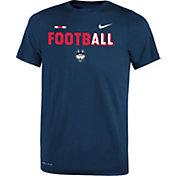 Nike Youth UConn Huskies Blue FootbALL Sideline Legend T-Shirt