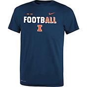 Nike Youth Illinois Fighting Illini Blue FootbALL Sideline Legend T-Shirt