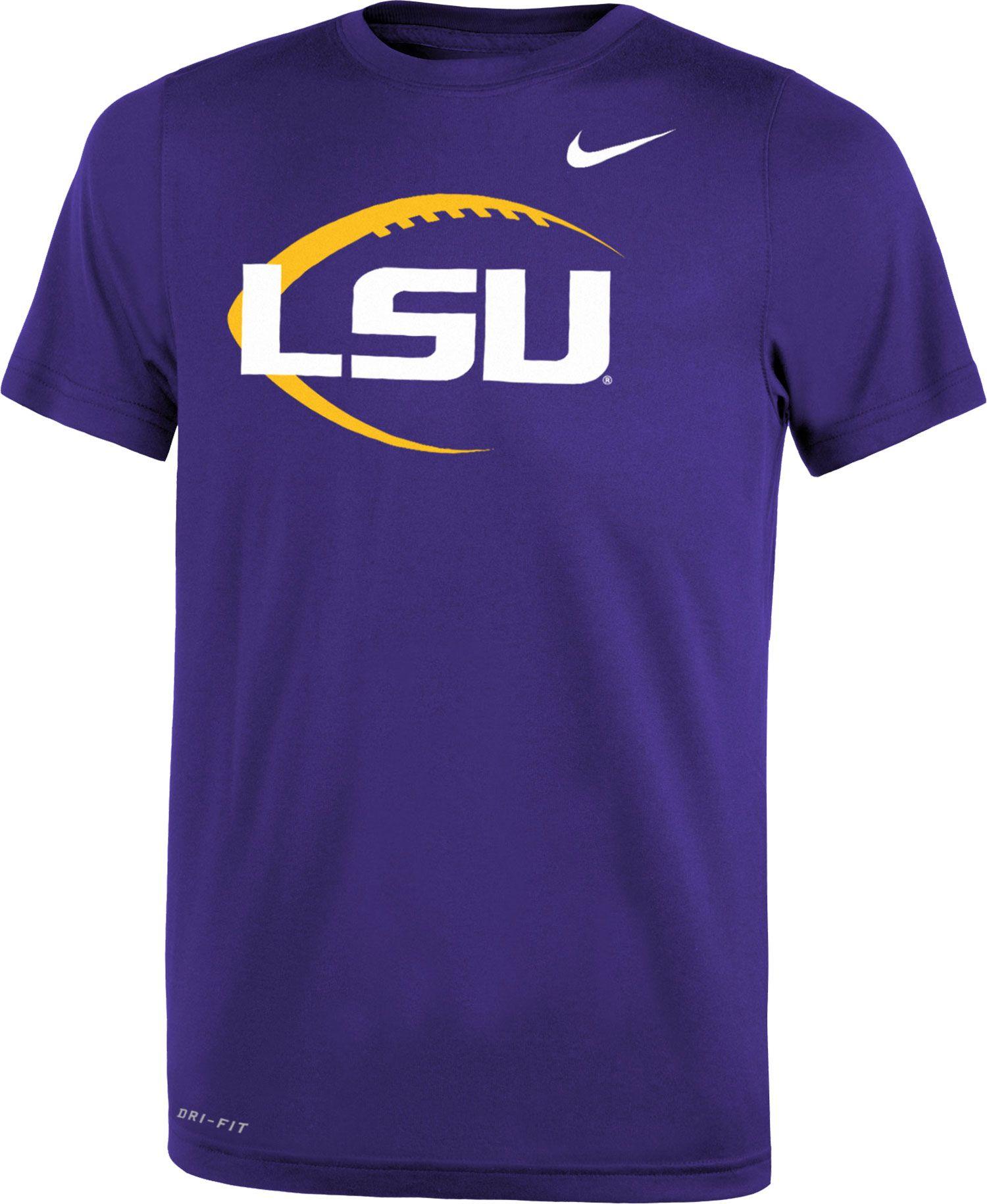 Nike Youth LSU Tigers Purple Football Icon Legend T-Shirt. 0:00. 0:00 /  0:00. noImageFound ???