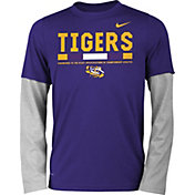 Nike Youth LSU Tigers Purple/Grey Football Sideline Staff 2-Fer Legend Long Sleeve Shirt