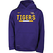 Nike Youth LSU Tigers Purple Football Sideline Pullover Therma-FIT Hoodie