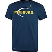 Jordan Youth Michigan Wolverines Blue Football Icon Legend T-Shirt