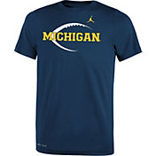 Jordan Youth Michigan Wolverines Blue Football Icon Legend T-Shirt