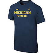 Jordan Youth Michigan Wolverines Blue Football Sideline Facility T-Shirt