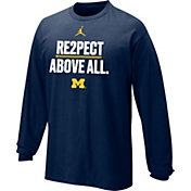 Jordan Youth Michigan Wolverines Blue 'Re2pect Above All Long Sleeve Shirt